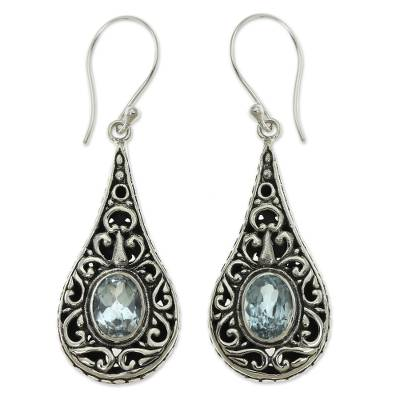 Artisan Crafted Earrings with Sterling Silver and Blue Topaz