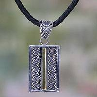 Gold accent and leather pendant necklace, 'Temple Gate' - Gold Accent Sterling Silver and Leather Necklace