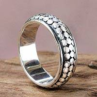 Men's sterling silver ring, 'Modern Light' - Men's Balinese Silver Band Ring