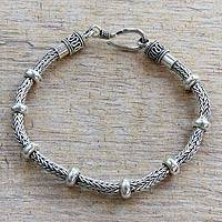 Men's sterling silver braided bracelet, 'Dragon Valor' - Men's Braided Sterling Bracelet from Bali