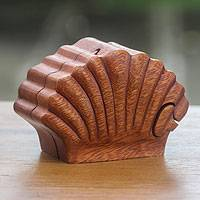 Wood puzzle box, 'Clam Shell' - Hand Carved Seashell Decorative Box