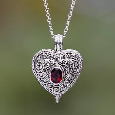 Garnet locket necklace, Always in my Heart