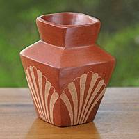 Ceramic vase, 'Brown Fan Dance' - Square Brown Terracotta Vase