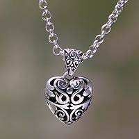 Sterling silver heart necklace, 'Wild Love' - Heart jewellery Handcrafted Sterling Silver Necklace