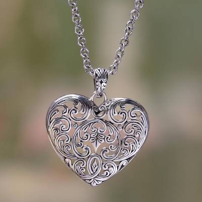Sterling silver heart necklace, 'Love's Muse' - Sterling Silver and Heart Necklace