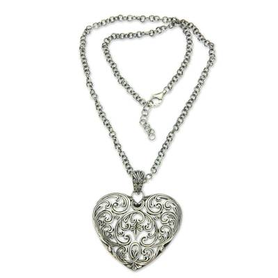Sterling Silver and Pearl Heart Necklace