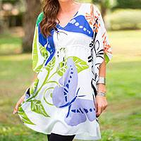 Rayon caftan dress, 'Butterfly Garden' - Hand Stamped Caftan Dress with Butterfly Sleeves