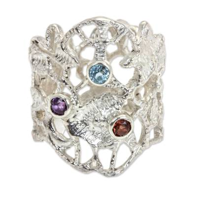 Wide Sterling Silver Ring with Amethyst Garnet and Topaz