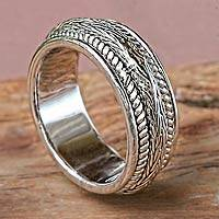 Sterling silver band ring, 'Bright Dragon' - Rhodium Plated Sterling Band Ring