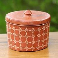 Ceramic jar, 'Matarm Echo' - Brown Handcrafted Terracotta Jar and Lid