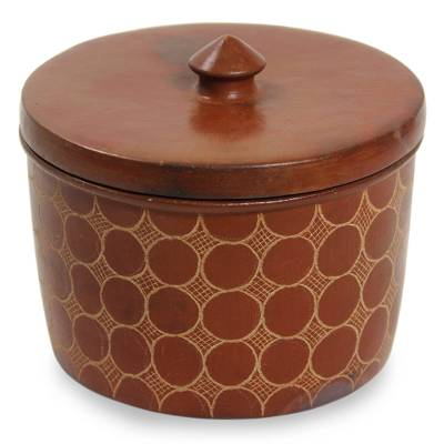Brown Handcrafted Terracotta Jar and Lid