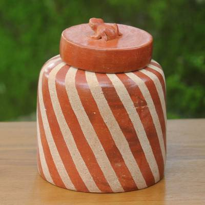 Ceramic jar, 'Lucky Frog in Brown' - Handcrafted Ecthed Ceramic Lidded Jar from Indonesia