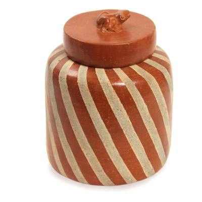 Handcrafted Ecthed Ceramic Lidded Jar from Indonesia