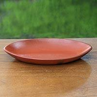 Ceramic serving plate, 'Perahu' - Handcrafted Terracota Ceramic Serving Plate