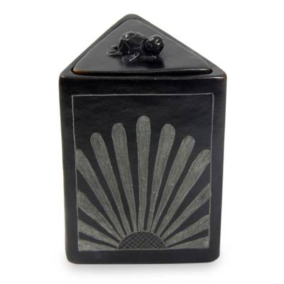 Black Ceramic Triangle Jar Crafted by Hand