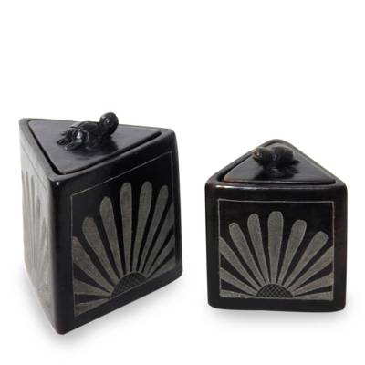 Black Ceramic Triangle Jar Crafted by Hand (Pair)