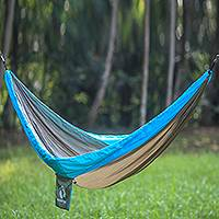 Parachute hammock, 'Hang Ten Forest' (single) - Single Parachute Hammock in Khaki and Blue from Bali