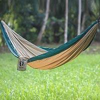 Hang Ten parachute hammock, 'Jungle for HANG TEN' (single) - Single Size Parachute Hammock in Brown and Green with Hooks