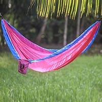 Hang Ten parachute hammock, 'Party for HANG TEN' (single) - Pink and Blue Single Parachute Hammock with Hanging Hooks