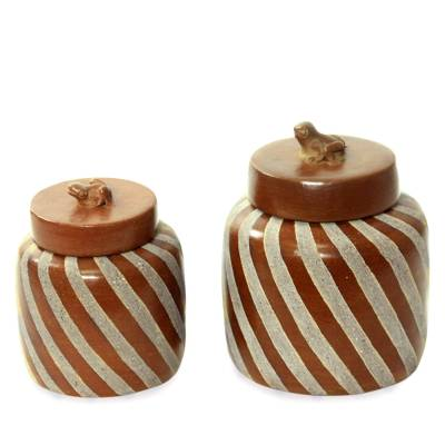 Handcrafted Ecthed Ceramic Lidded Jars (Pair)