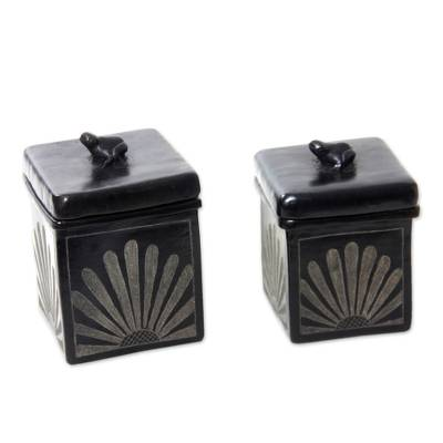Black Ceramic Jars Crafted by Hand (Pair)