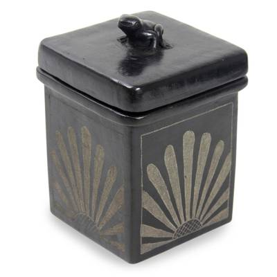 Fair Trade Square Ceramic Jar with Lid from Indonesia