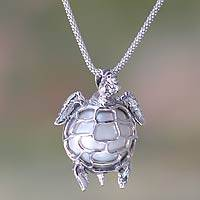 Cultured pearl pendant necklace, 'Turtle in Moonlight'