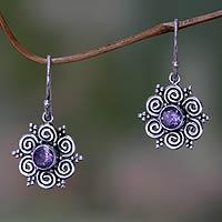 Amethyst flower earrings, 'Sumatran Blossom'