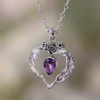 Amethyst pendant necklace, 'Valentine Rose' - Four Carat Pear Cut Amethyst and Silver Necklace