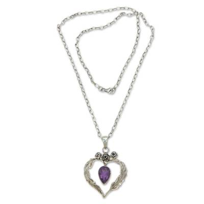 Four Carat Pear Cut Amethyst and Silver Necklace