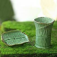 Ceramic bathroom set, 'Tropical Banana Leaf' (pair) - Handcrafted Ceramic Soap Dish and Tumbler Set