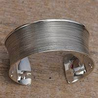 Sterling silver cuff bracelet, 'Modern Classic' - Modern Handcrafted Sterling Cuff