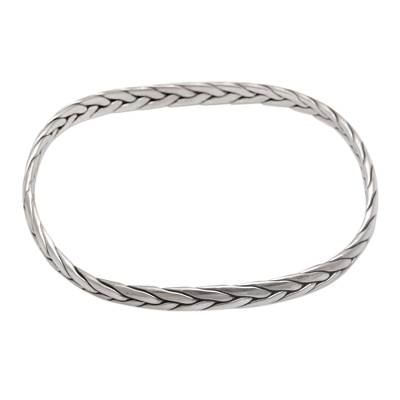 Braided Sterling Silver Bangle Bracelet