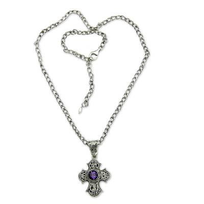 Balinese Cross Necklace with Amethyst and Pearl