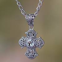 Blue topaz cross necklace, 'Purity of Spirit' - Balinese Cross Necklace with Blue Topaz and Pearl