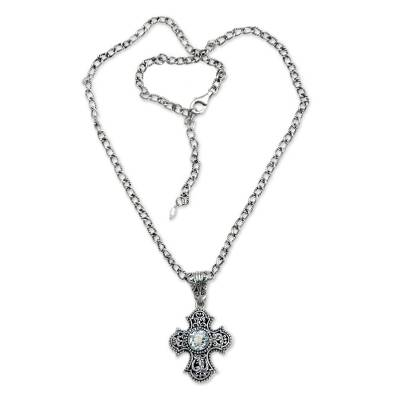 Balinese Cross Necklace with Blue Topaz and Pearl