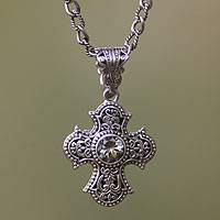 Prasiolite and cultured pearl cross necklace, 'Purity of Spirit' - Balinese Cross Necklace with Prasiolite and Pearl
