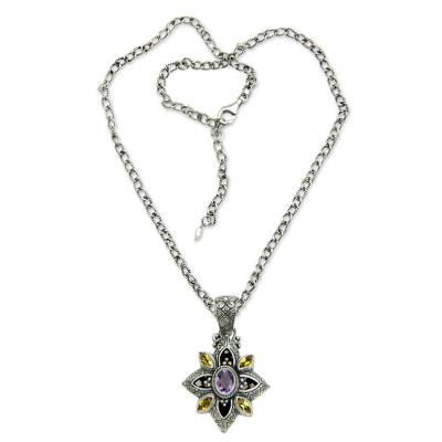 Floral Sterling Silver Necklace with Citrine and Amethyst