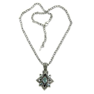 Floral Sterling Silver Necklace with Blue Topaz 2.5 cts