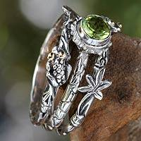 Peridot stacking rings, Tree Frog (set of 3) - Peridot and Sterling Silver Stacking Rings (set of 3)