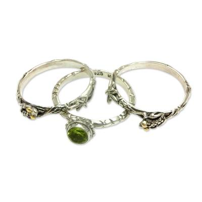Peridot and Sterling Silver Stacking Rings (set of 3)