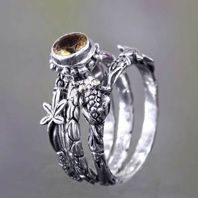 Citrine stacking rings, 'Tree Frog' (set of 3) - Citrine and Sterling Silver Stacking Rings (set of 3)