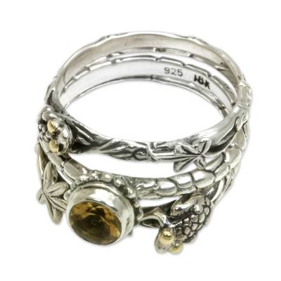 Citrine and Sterling Silver Stacking Rings (set of 3)