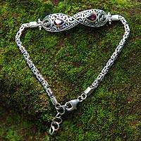 Garnet braided bracelet, 'Yin and Yang' - Balinese Style Garnet and Silver Bracelet
