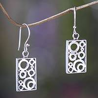 Sterling silver dangle earrings, 'Sea Foam' - Balinese Silver Dangle Earrings