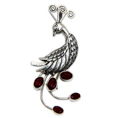 Silver Bird Brooch Pin-Pendant with Garnets