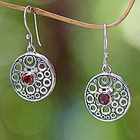 Garnet dangle earrings, 'Foamy Surf' - Balinese Garnet Dangle Earrings