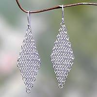 Sterling silver dangle earrings, 'Cascading Diamonds' - Handcrafted Fair Trade Sterling Silver Earrings