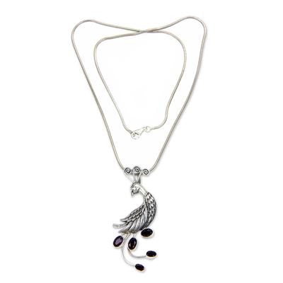 Silver Bird Necklace with Garnets
