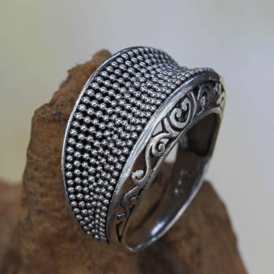 Sterling silver dome ring, 'Incipient Life' - Artisan Crafted Silver Dome Ring